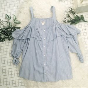 Target Mossimo Cold Shoulder Button Down Top